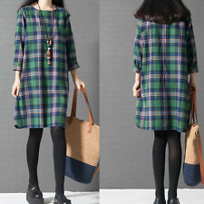 Autumn Women Long Sleeve Casual Plaid  Party Shirt Dress Tops Dress Fashion Plus