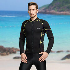 Men's 3mm Neoprene Surfing Zip Front Sport WetSuit Warm Long Sleeve Swim Shirt
