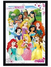 Disney Black Wooden Framed I Am A Princess Maxi Poster 61x91.5cm
