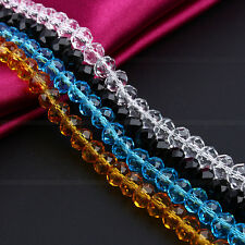 Hot 100Pcs Center Drilled Crystal Czech Loose Glass Rondelle 6mm Faceted Beads