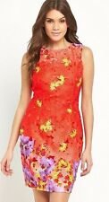 LIPSY SIZE 10 HOT RED / CORAL LASER CUT OUT LACE LOW BACK DRESS BNWT