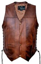 New mens 10 Pockets Concealed Carry Retro Brown Buffalo Hide Leather Vest