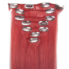 "New Women 7PCS Clip In Remy Human Hair Extensions 15""18""20""22"" Straight #Pink"