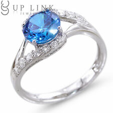 SZ 5-8 925 Sterling Silver Wedding Engagement Ring Propose Bridal Halo Blue CZ