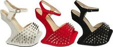 NEW WOMENS/LADIES HEEL LESS SPIKE STUDS HIGH HEEL PLATFORM WEDGE SANDAL SHOES