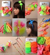 CHILDS NEON HAIR ACCESSORIES, ELASTICS, PONIOS, ALICE BANDS, BOW, BRIGHT, FUN