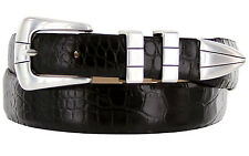 "GENUINE ITALIAN CALFSKIN LEATHER DRESS CASUAL BELT 1-1/8"" TAPERS TO 1"" WIDE NWT"