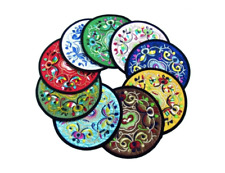 "NEW Chinese Embroidery handmade silk cloth coasters 5"" flower round 2pcs"