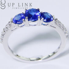 Three-Stone Blue Spinel Cubic Zirconia Sterling Silver Wedding Engagement Ring