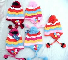 Colorful Stripe Pattern Boy Girl Crochet Kids Winter Pom Pom Caps Baby Warm Hats