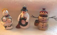 Snowman Figurines Lot of 3 Wreath Bird Angel PLD 2002 Bird Seed Bag Christmas