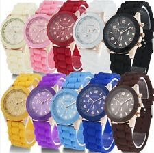 2016 NEW Unisex Geneva Silicone Jelly Gel Quartz Analog Sport Wrist Watch Women