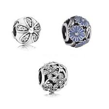S925 Sterling Silver Daisy Flower CZ Crystal Bracelet Charm Bead Xmas Gift D87D