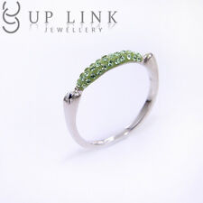 Swarovski Peridot Crystal 925 Sterling Silver Fashion Ring For Women Gift Sz 5-7