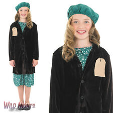 FANCY DRESS COSTUME 1940'S EVACUEE GIRL WITH COAT AGE 4-12