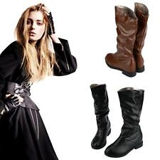 Womens Shoes Knee High Mid Calf Boots Round Toe Ladies PU Slouch Casual NEW E0ZF