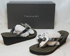 TAHARI Women's Ava Wedge Sandal - Black - SZ 6.5 Only - NIB - MSRP $39