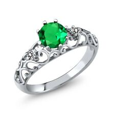 1.62 Ct Round Green Simulated Emerald White Diamond 925 Sterling Silver Ring
