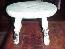 Vintage Antique Milking Foot Stool Primitive Chippy Paint Shabby Chic Bench