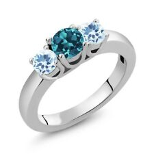 1.16 Ct Round London Blue Topaz Sky Blue Topaz 925 Sterling Silver Ring