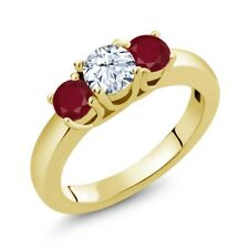 1.10 Ct Round White Topaz Red Ruby 18K Yellow Gold Plated Silver Ring
