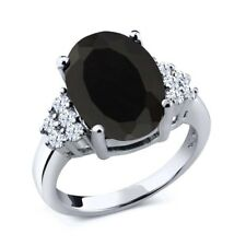 5.30 Ct Oval Black Onyx 925 Sterling Silver Ring