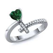 0.52 Ct Heart Shape Green Simulated Emerald 925 Silver Cross Ring