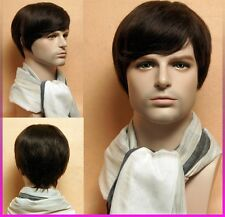 Men 's short full wig hairpiece 100% Pure real Natural human hair Man wigs style