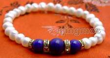"""SALE Beautiful! white 6-7mm Natural Pearl and blue Round jade 7.5"""" bracelet-b289"""