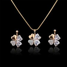 18K Multi-Tone Gold Simulated Diamond clovers vogue wedding earring&pendant 18''