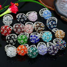 1pc Womens Cluster Flower Crystal Glass Faceted Drum Beads Cocktail Finger Ring