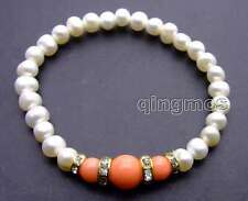 "SALE Beautiful! white 6-7mm Natural Pearl and pink Round Coral 7.5"" bracelet-291"