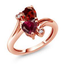 1.89 Ct Heart Shape Red Created Ruby Red Garnet 14K Rose Gold Ring