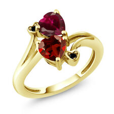 1.90 Ct Red Garnet Red Created Ruby 18K Yellow Gold Plated Silver Ring