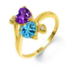 1.63 Ct Purple Amethyst Swiss Blue Topaz 18K Yellow Gold Plated Silver Ring