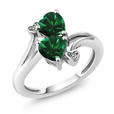 1.39 Ct Heart Shape Green Simulated Emerald 925 Sterling Silver Ring