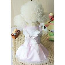 Pet Dog Pink Ribbon Bow Satin Lace Sequins Dress Clothes Clothing Apparel M/L/XL