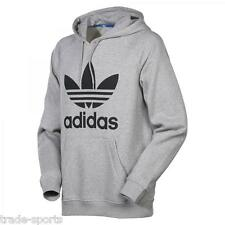 adidas MENS SIZE S M L XL TREFOIL LOGO HOODY OVERHEAD SWEATER FLEECE GREY RETRO