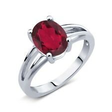 1.80 Ct Oval Red Mystic Quartz 14K White Gold Solitaire Ring