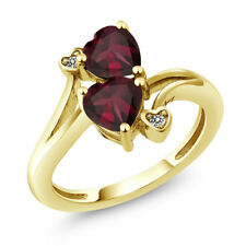 1.47 Ct Heart Shape Red Rhodolite Garnet 18K Yellow Gold Plated Silver Ring