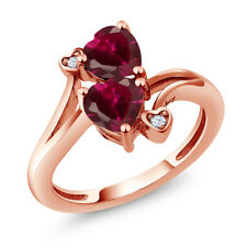 1.95 Ct Heart Shape Red Created Ruby 18K Rose Gold Plated Silver Ring