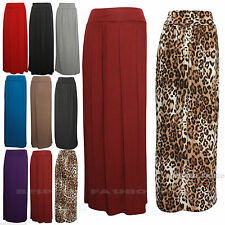 New Womens Celeb Fold Over Waist Full Length Jersey Ladies Maxi Skirt Size SM ML