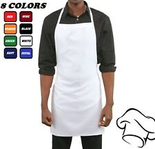 12 NEW SPUN POLY CRAFT COMMERCIAL CHEF BRAND KITCHEN BIB APRONS HIGH QUALITY