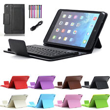 For Apple iPad Mini 4 Stand Leather Bluetooth Keyboard Folio Case Cover & Stylus