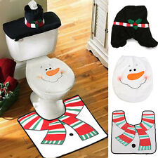 Christmas Decoration Happy Santa Snowman Toilet Seat Cover Rug Bathroom Set New