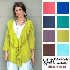 OH MY GAUZE Cotton KENDRA Ruffle Front Jacket Top OS M/L/XL/1X  2015 DISC COLORS