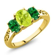 1.80 Ct Oval Yellow Lemon Quartz Green Simulated Emerald 14K Yellow Gold Ring