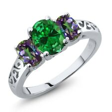 3.10 Ct Oval Green Simulated Emerald Green Mystic Topaz 925 Sterling Silver Ring