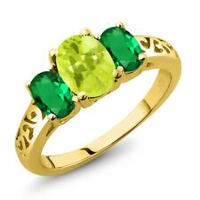1.90 Ct Oval Yellow Lemon Quartz Green Simulated Emerald 18K Yellow Gold Ring