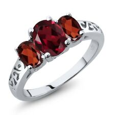 2.35 Ct Oval Red Rhodolite Garnet Red Garnet 14K White Gold Ring